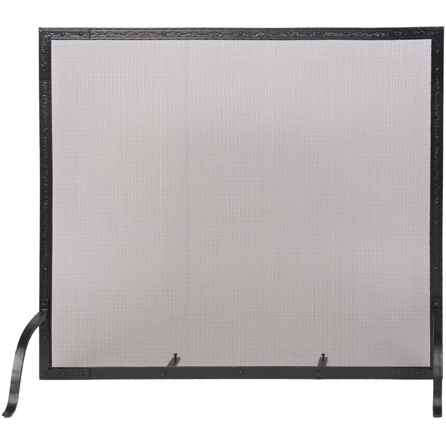 Picture of Alpine Flame 39-Inch Vintage Black Wrought Iron Fireplace Screen Guard