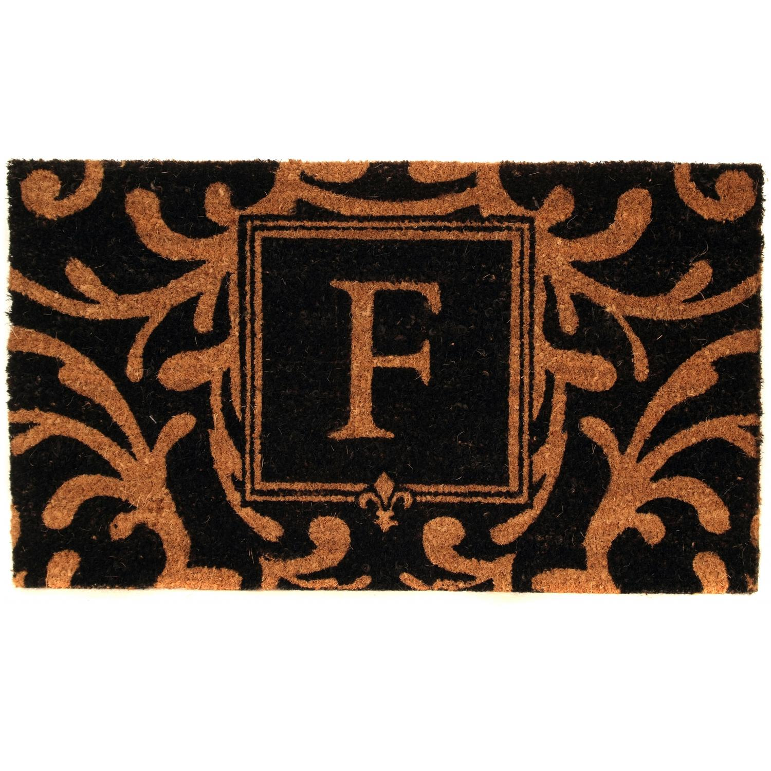 Picture of Evergreen Classic Block Monogram Coir Door Mat - Letter F