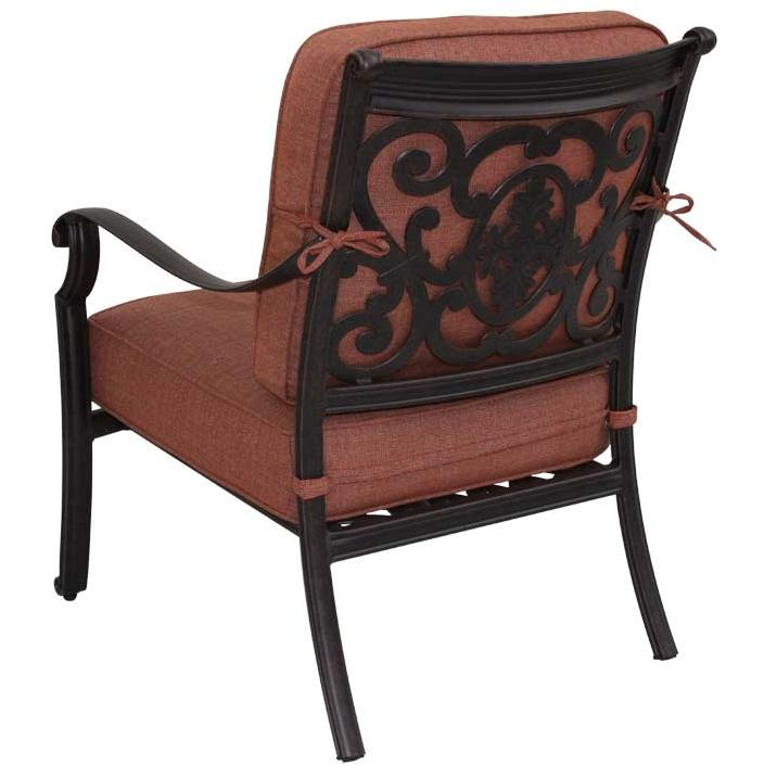 Darlee St. Cruz Cast Aluminum Deep Seating Outdoor Patio Club Chair With Spicy Chili Cushion - Antique Bronze