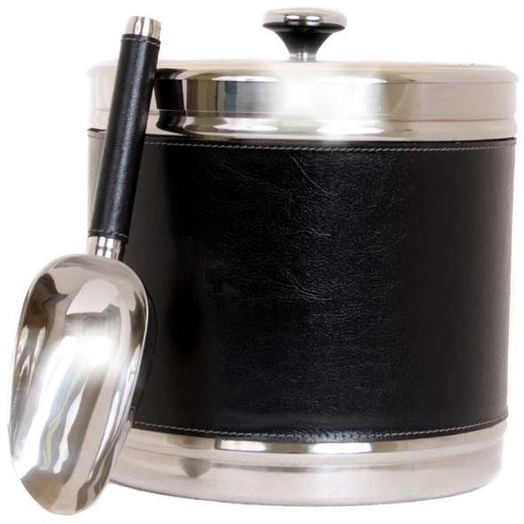 Oggi Faux Leather Double Wall Ice Bucket W/ Scoop - Black