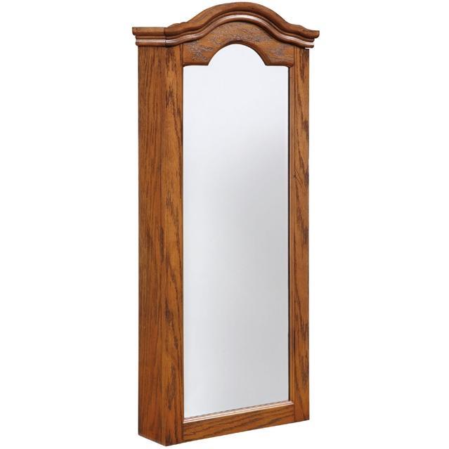 Powell Furniture - Antique Oak Wall Jewelry Storage Mirror - 647-233