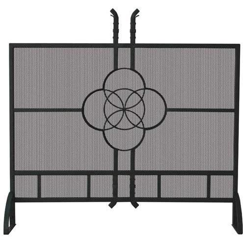 UniFlame 39 Inch Olde World Iron Single Panel Fireplace Screen With Celtic Design