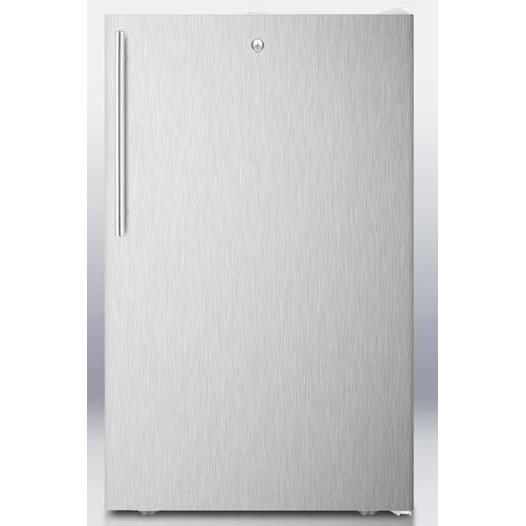 Summit FS407LBISSHV 2.8 Cu. Ft. Capacity Built-In Or Freestanding Compact Freezer - Stainless Steel Door / White Cabinet