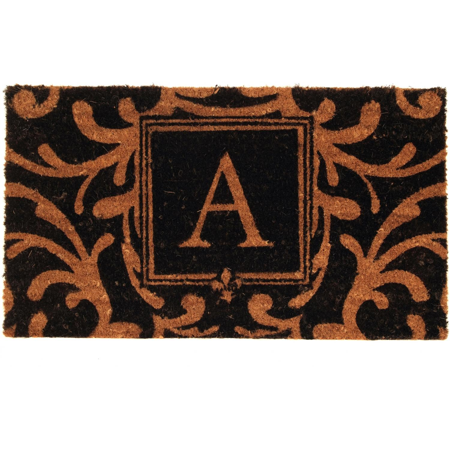 Picture of Evergreen Classic Block Monogram Coir Door Mat - Letter A