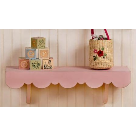 New Arrivals Scalloped Cottage Wall Shelf - Pink