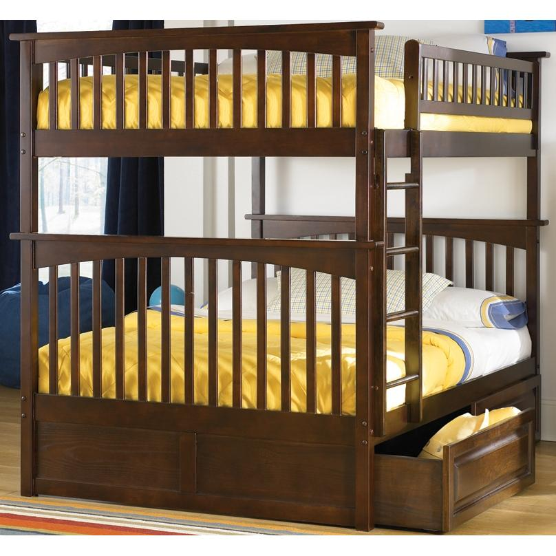 Atlantic Furniture 2021401 Columbia Twin / Full Bed Antique Walnut W/ Raised Panel Drawers