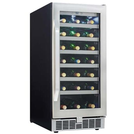 Danby DWC93BLSST Silhouette Select 34 Bottle Built-In Wine Cooler - Glass Door / Stainless Steel Trim