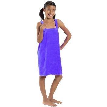 Terry Town Girls Terry Velour Body Wrap Towel Medium - Purple