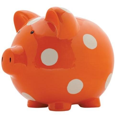 Elegant Baby Classic Piggy Bank - Orange/White Dot