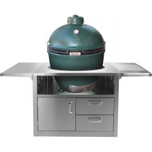 Stainless Steel Cart For Extra Large Big Green Egg Ceramic Grills BBQ Guys Stainless Steel Kamado Cart - Shown With Extra Large Big Green Egg (Grill Not Included)