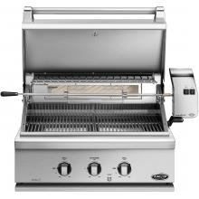 DCS Professional 30-Inch Built-In Propane Gas Grill With Rotisserie - BH1-30R-L DCS 30-Inch Built-In Gas Grill - Hood Open