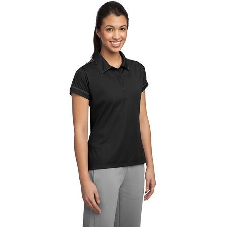 Sport-Tek Ladies Contrast Stitch Micropique Sport-Wick Polo Shirt Medium - Black