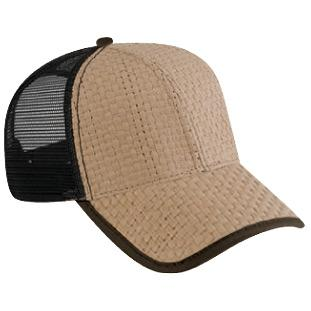 Otto Cap Toyo Straw Low Profile Mesh Back Pro-Style Sport Cap - Khaki/Dk.Brown