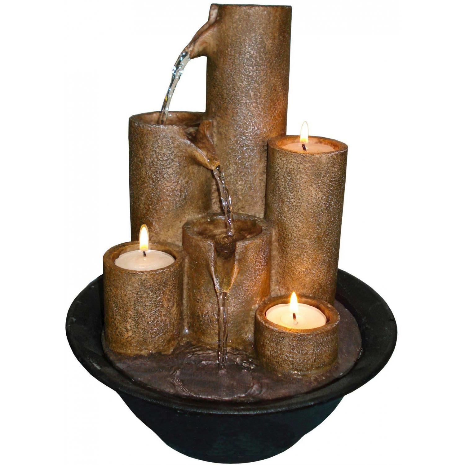 Alpine Tabletop Fountain With Three Candles
