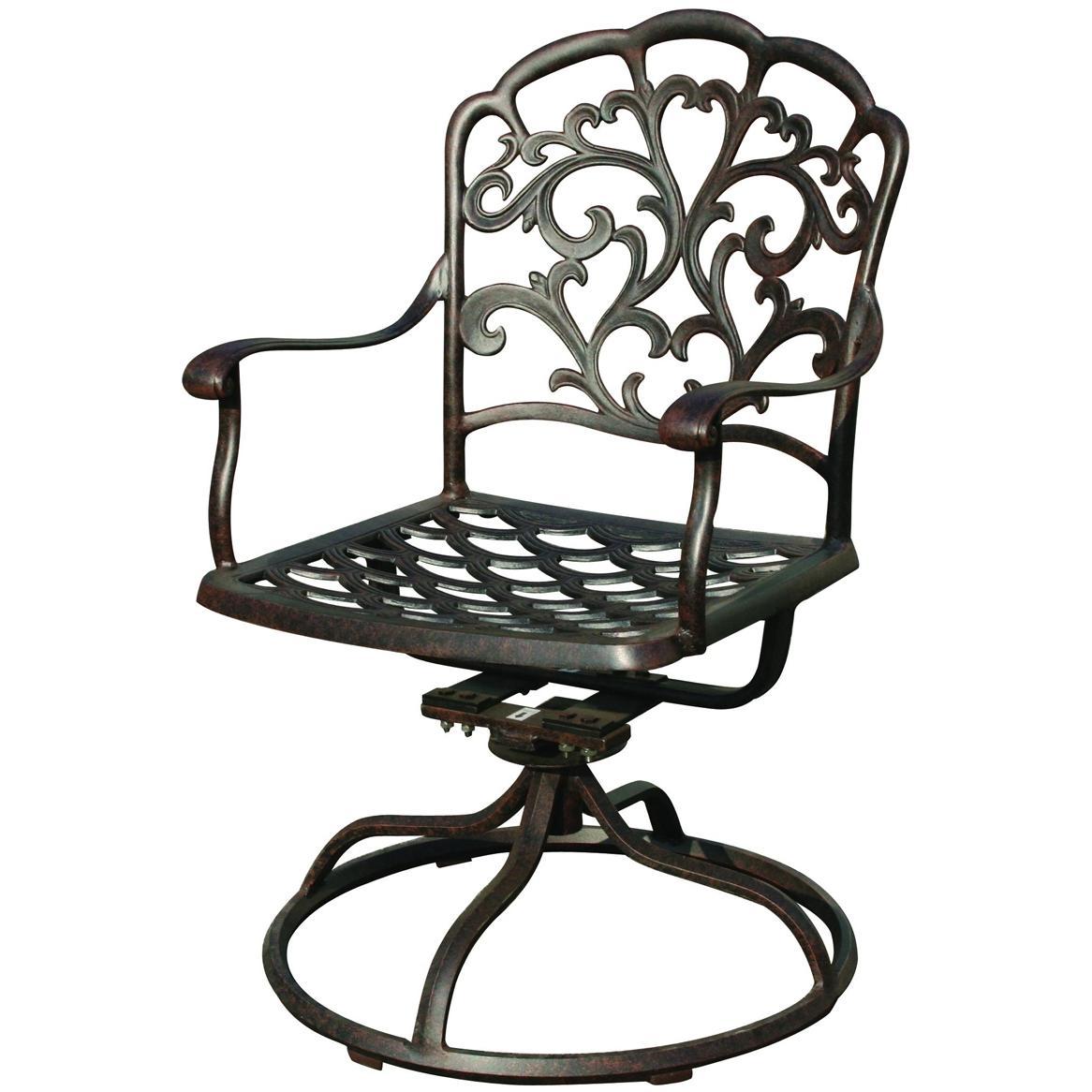 Darlee Catalina Cast Aluminum Outdoor Patio Swivel Rocker Chair With Cushion - Antique Bronze