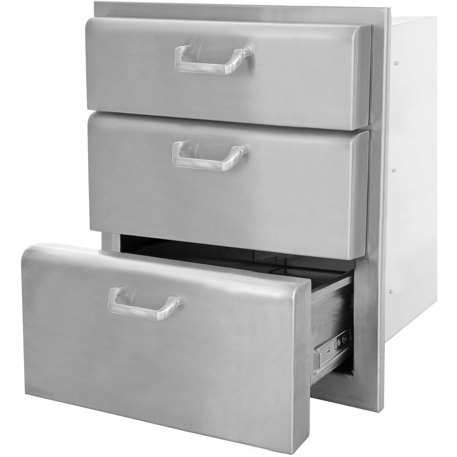Picture of BBQGuys.com Kingston Raised Series 20 Inch Stainless Steel Triple Access Drawer
