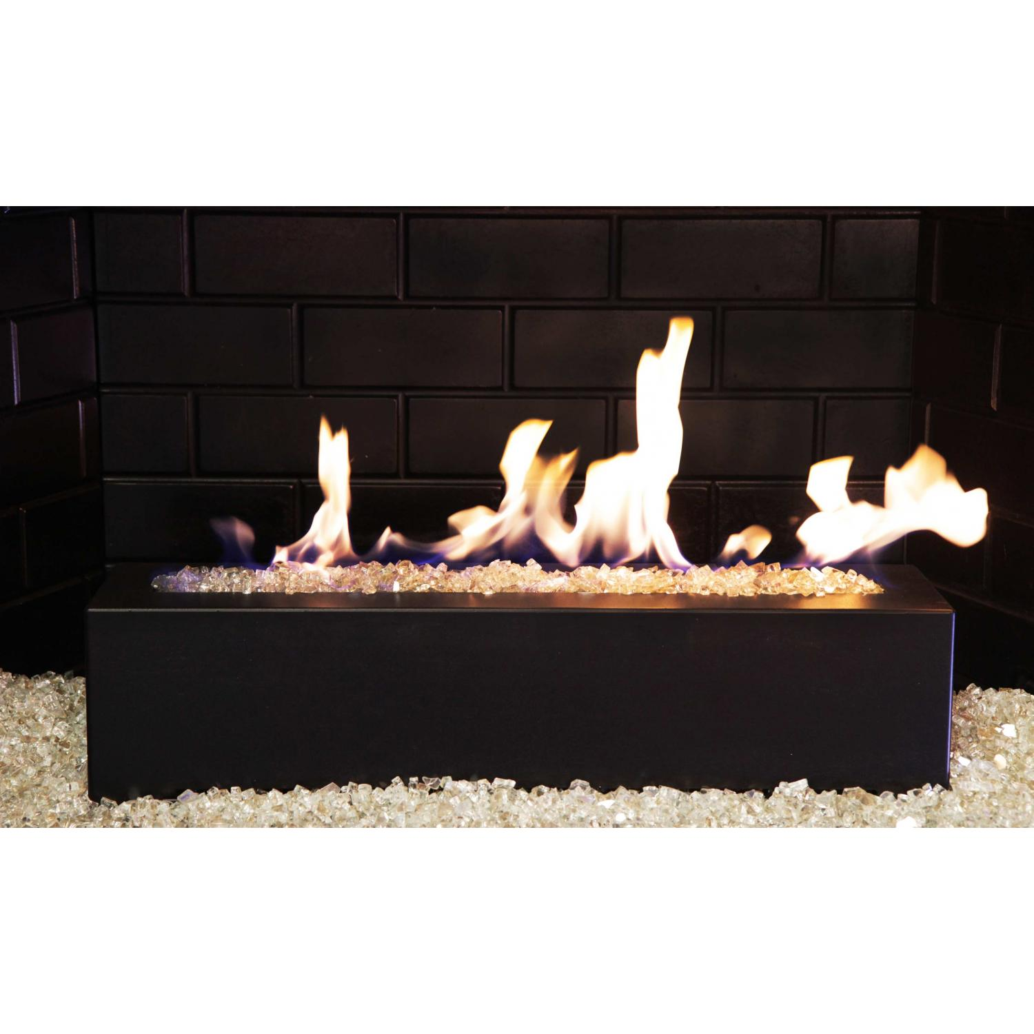 Picture of Golden Blount 24-Inch Alpine Linear Burner With Decorative Black Front Face And Crystal Reflective Fire Glass
