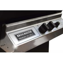 Broilmaster H3 Deluxe Natural Gas Grill On Black Patio Post With Black Drop Down Side Shelf Stainless Steel Control Panel