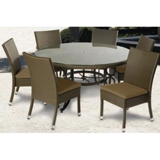 Alfresco Home Vento 60 Inch Round Wicker Dining Set
