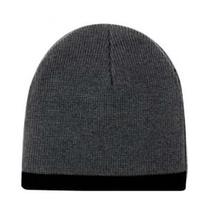 Otto Cap 8 Inch Acrylic Knit Trimmed Beanie - Charcoal/Black