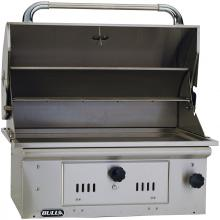 Bull Bison 30-Inch Built-In Stainless Steel Charcoal Grill - 67529 Bull Bison 30-Inch Stainless Steel Built-In Charcoal Grill - Hood Open