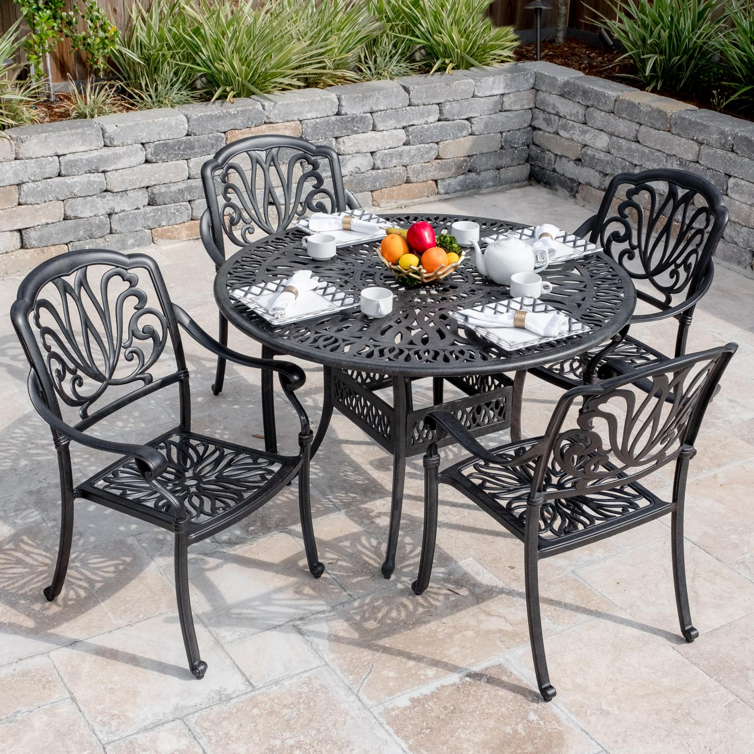 Details about roxbury 5 piece cast aluminum patio dining set 48 inch round table by darlee