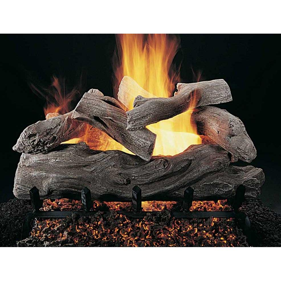 Rasmussen 24 Inch Manzanita Gas Log Set With Vented Natural Gas ANSI Certified Flaming Ember Burner - Manual Safety Pilot