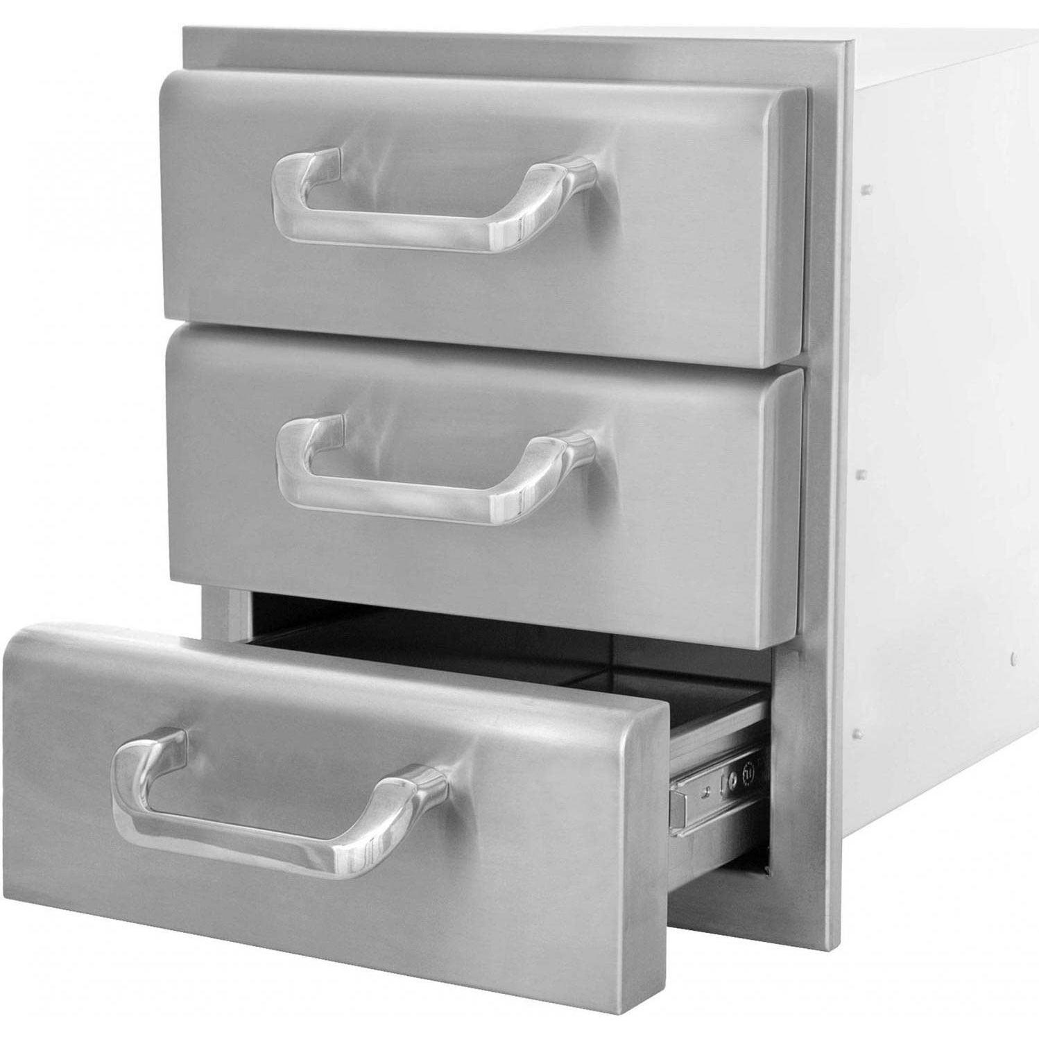 Picture of BBQGuys.com Kingston Raised Series 14 Inch Stainless Steel Triple Access Drawer