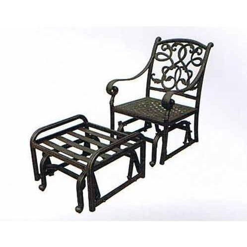 Darlee Santa Monica Single Cast Aluminum Outdoor Patio Glider & Ottoman Set With Cushions - Antique Bronze