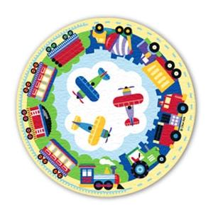 Olive Kids Floor Rug - Trains Planes And Trucks Round