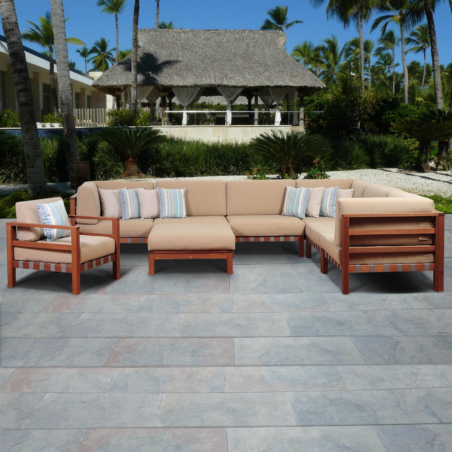 Picture of Amazonia Derbyshire 6-Person Eucalyptus Patio Sectional Set By Jamie Durie