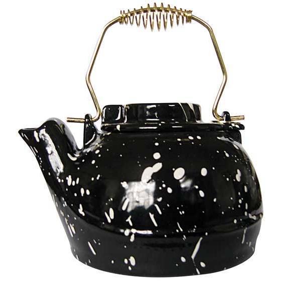 UniFlame 2.5 Qt Black Porcelain Coated Kettle With White Speckles