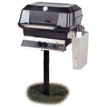 MHP JNR4DD Natural Gas Grill With Stainless Steel Shelves And Stainless Grids On In-Ground Post MHP Gas Grills JNR4DD Gas Grill On In Ground Post