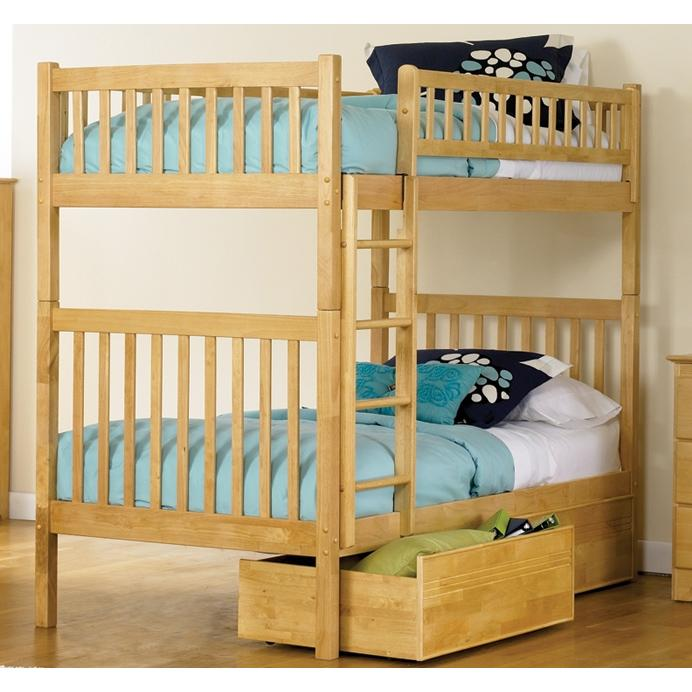 Atlantic Furniture 2000503 Arizona Twin / Twin Bunk Beds Natural Maple W/ Flat Panel Drawers