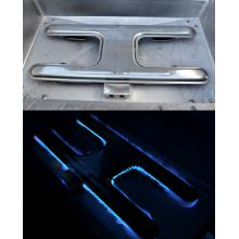 MHP JNR4DD Natural Gas Grill With Stainless Steel Shelves And Stainless Grids On In-Ground Post Stainless Steel H Burner