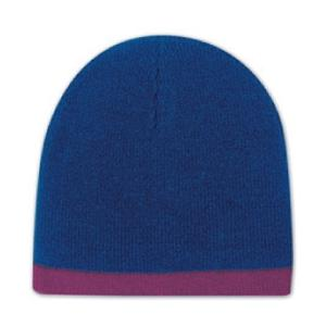 Otto Cap 8 Inch Acrylic Knit Trimmed Beanie - Navy/Maroon