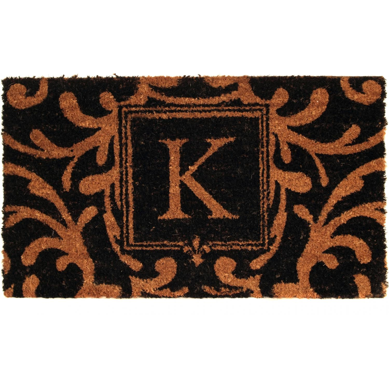 Evergreen Classic Block Monogram Coir Door Mat - Letter K