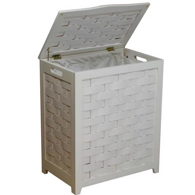 Oceanstar Laundry Hamper In White Finished Veneer Wood With Interior Bag - RHV0103W
