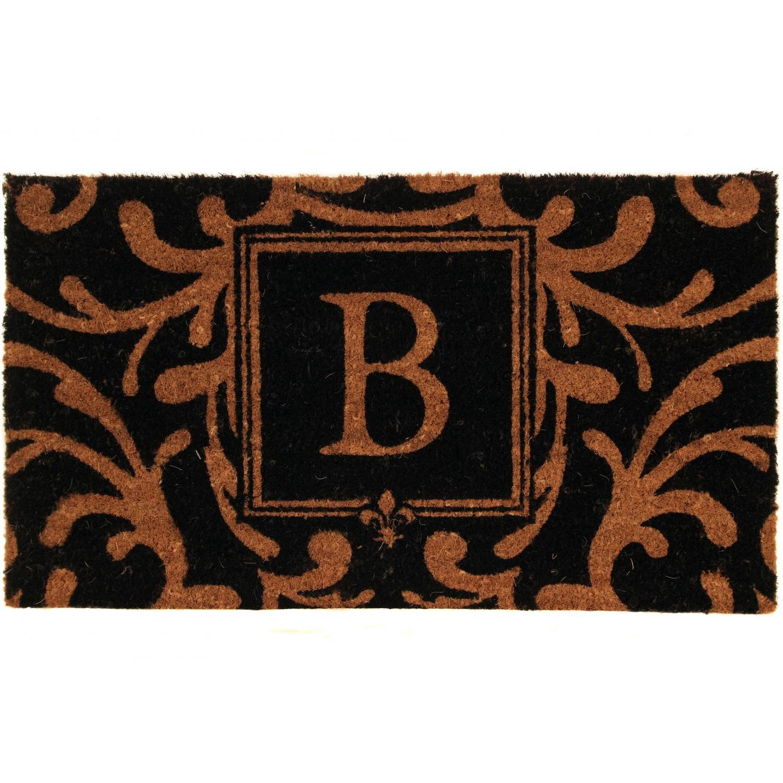 Evergreen Classic Block Monogram Coir Door Mat - Letter B