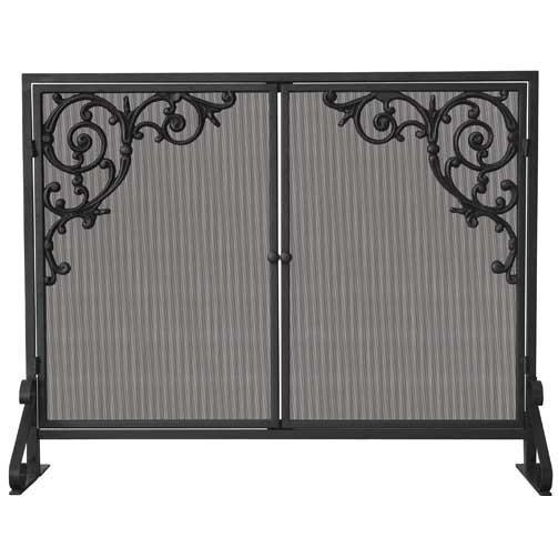 UniFlame 39 Inch Olde World Iron Cast Scroll Design Single Panel Fireplace Screen With Doors