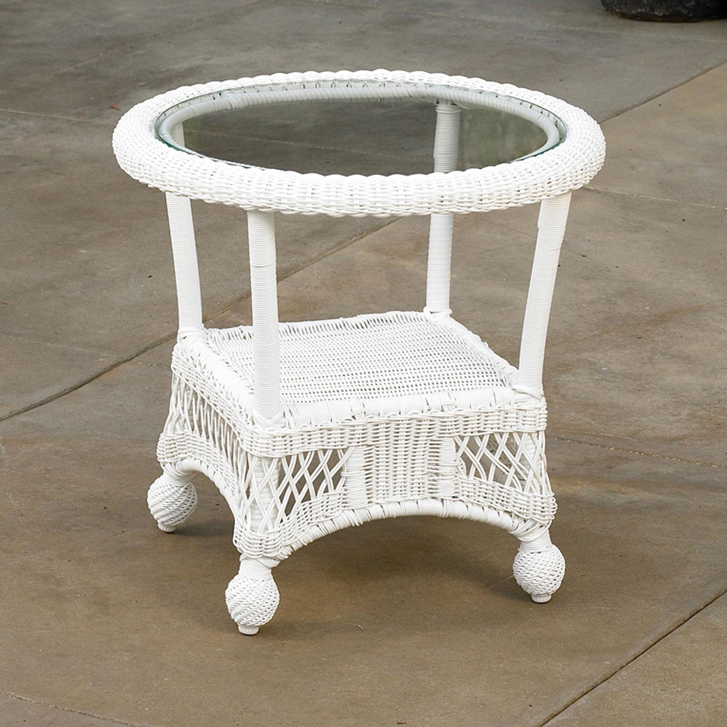 North Cape Montego End Table (with Glass Top) White