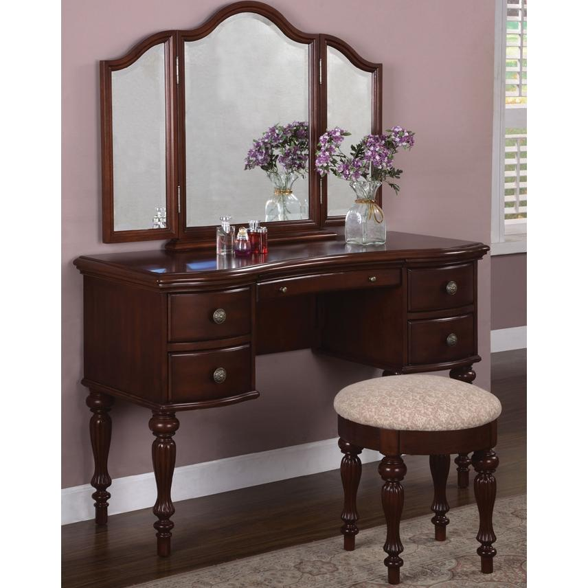 Powell Furniture - Marquis Cherry Vanity, Mirror & Bench - 508-290