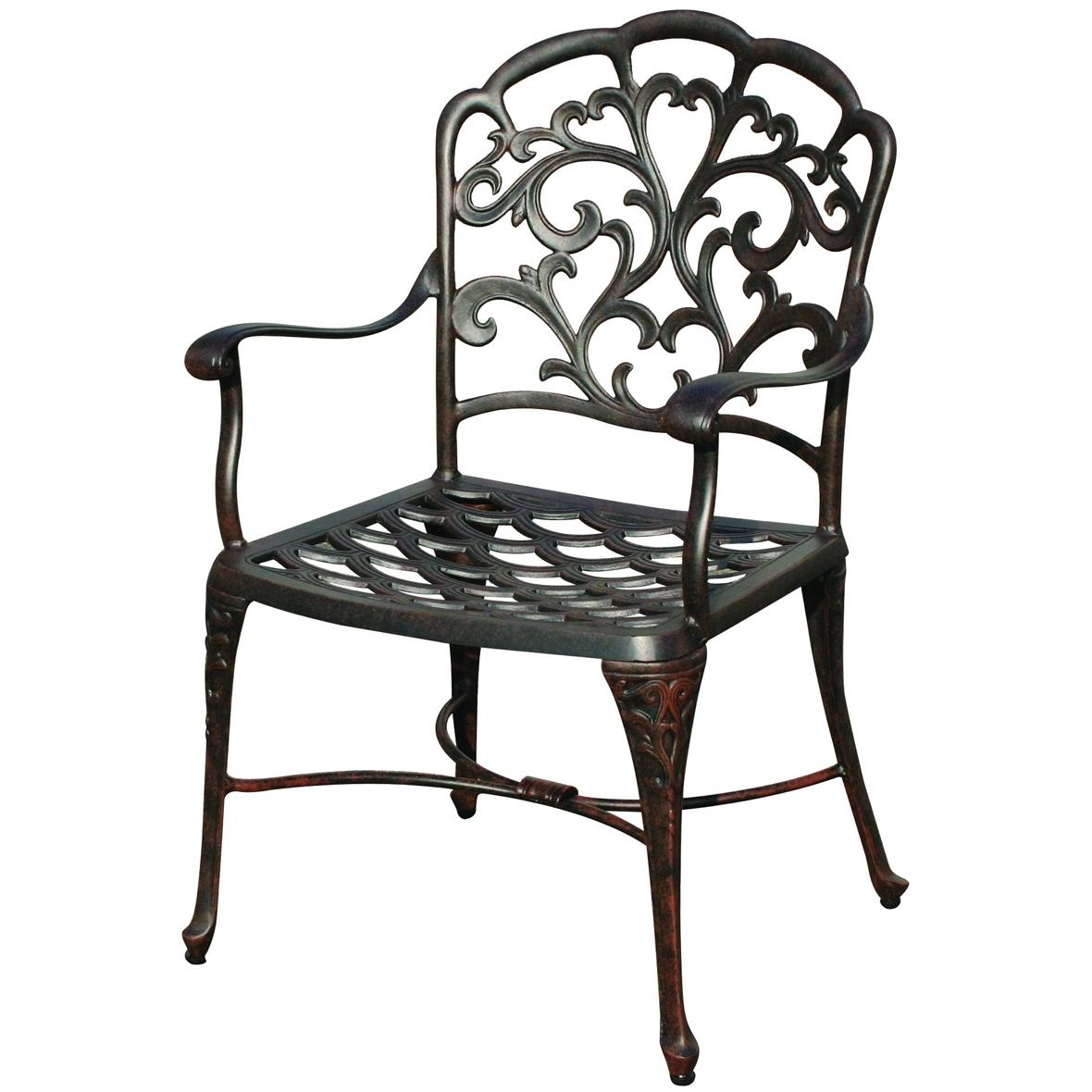 Darlee Catalina Cast Aluminum Outdoor Patio Dining Chair With Cushion - Antique Bronze