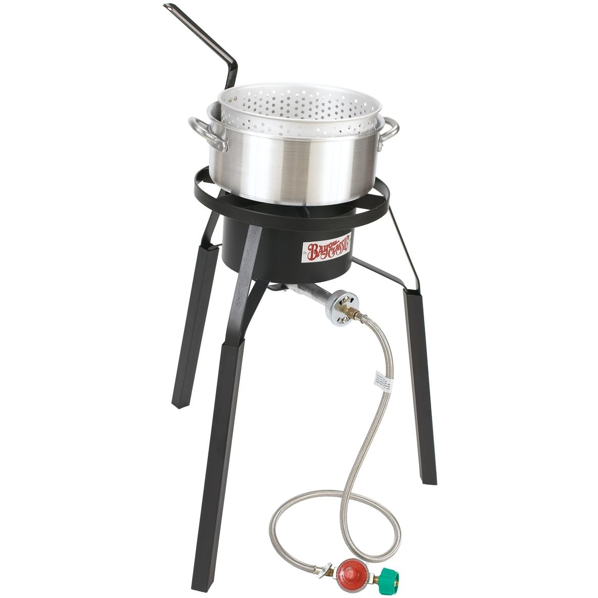 Bayou Classic Burners With Extension Legs Sportsmans Choice Deluxe Fish Cooker Pot & High Pressure Gas Burner