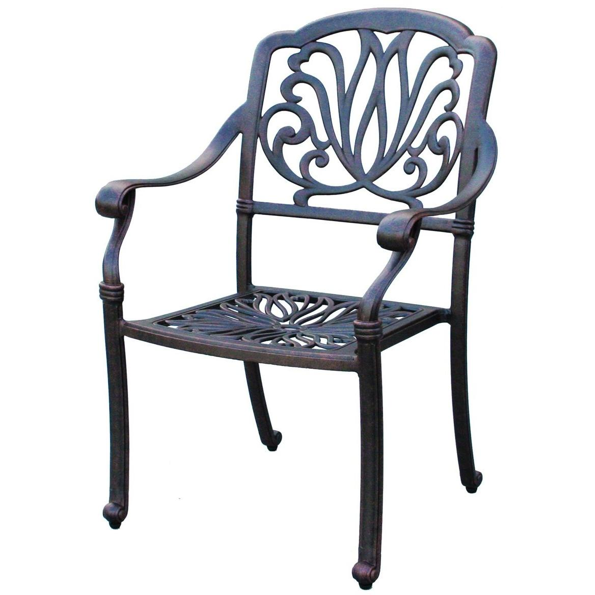 Darlee Elisabeth Cast Aluminum Outdoor Patio Dining Chair With Cushion - Antique Bronze