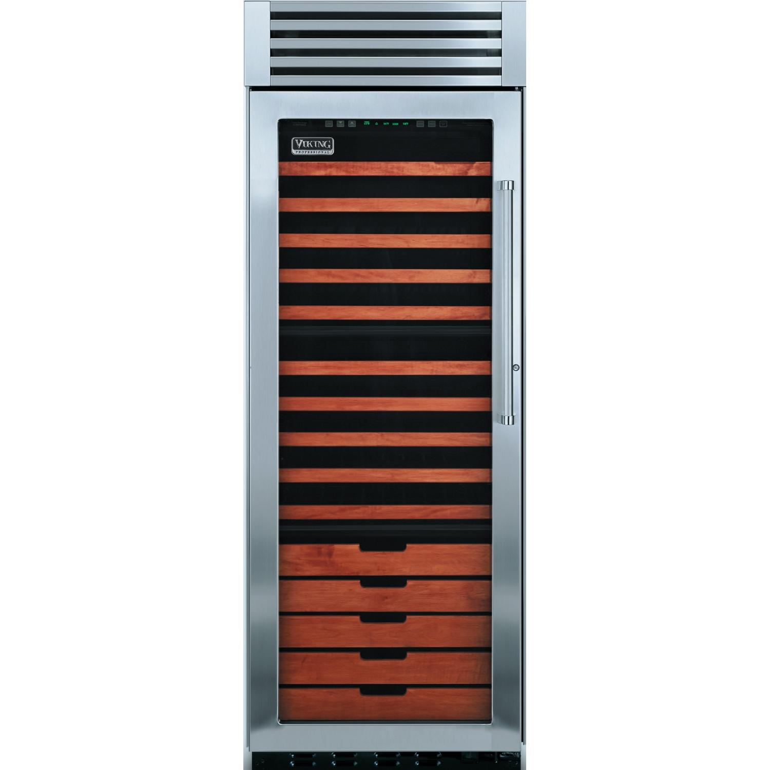 Viking VCWB300L 150 Bottle Professional Series Built In Triple Zone Left Hinge Beverage Cooler - Glass Door
