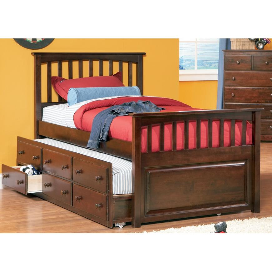 Atlantic Furniture 3013531 Full Size Mates Bed Natural Maple W/ Three Drawer Trundle