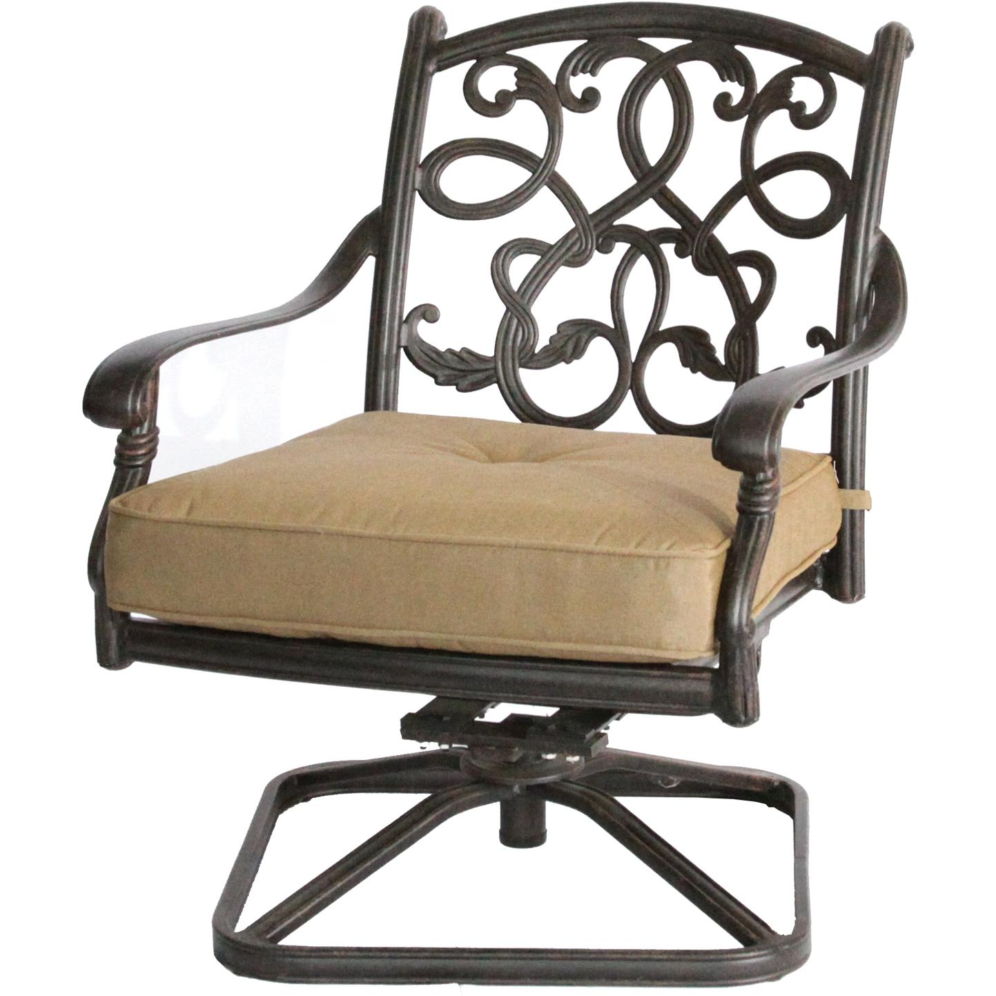 Darlee Santa Monica Cast Aluminum Outdoor Patio Swivel Rocker Club Chair With Cushions - Antique Bronze