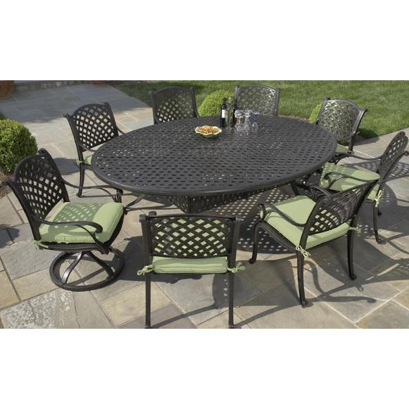 Alfresco Home Long Cove Cast Aluminum 100 Inch Oval Dining Table Group - Antique Fern