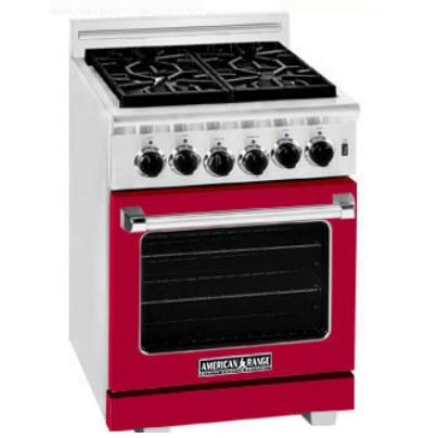 American Range ARR-244 24 Inch Natural Gas Range With 4 Burners - Red